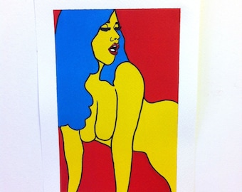 Lady, A4 Original Painting, Signed and Editioned