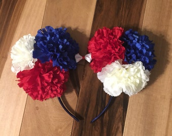 Patriotic Ears, Custom Patriotic Mickey Ears, Disney Inspired Minnie Ears