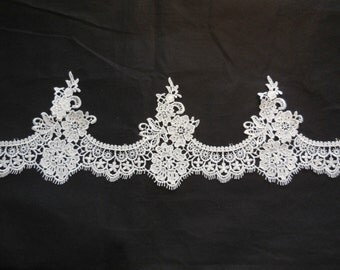 Light Ivory cotton embroidery floral lace trim / bridal Wedding ivory lace trim is for sale. Sold by Per Yard  90cm