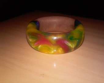 Rainbow Sherbet - Fiji Wood & Epoxy Ring - Size : 9 1/4