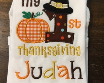 My First 1st Thanksgiving Shirt Onesie // Baby First 1st Thanksgiving Shirt // Baby Boy Thanksgiving Shirt // Thanksgiving Shirt Onesie for