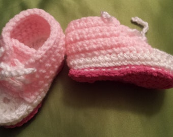 Crochet Pink and white Baby Converse  style sleeprs 3-6 months