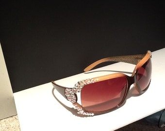 Brown Sunglasses with Swarovski Crystals