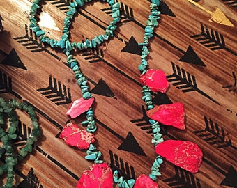 Hot Pink and Turquoise Chunk Necklace