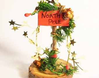 Fairy Christmas/ Holiday Sign, Handmade Christmas and holiday theme miniature sign for fairy houses, garden, and holiday display. Red, green