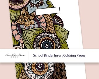 Printable School Binder Coloring Page Inserts and Spines