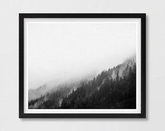 Forest Fog Print, Minimalist Printable Art, Black and White Art, Landscape Art, Living Room Decor, Nature Photography, Poster Art Print