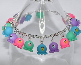 Cute Colourful Octopus Charm Bracelet