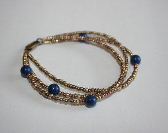Lapis and Bronze Beaded Bracelet