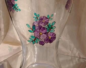 Hand-painted violets vase