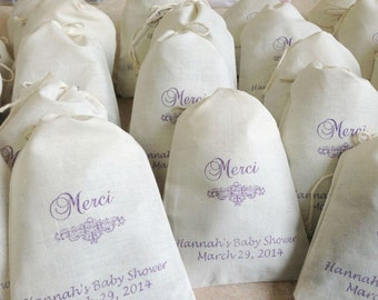 25 Personalized Baby Shower Merci Lavender Sachets - you choose ink color - 4x6 inch