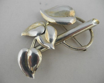 Vintage Napier Sterling Silver Brooch Pin Leaves