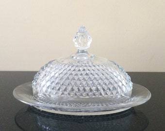 Vintage Covered Butter Dish, Indiana Diamond Point Oval Covered Butter Dish, Pressed Glass Butter Dish, Vintage 2-pc. Butter Dish, PL3554