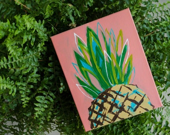 "8""x10"" Abstract pineapple with coral background"