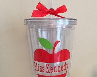 16oz insulated (double wall) plastic tumbler with lid and reusable straw