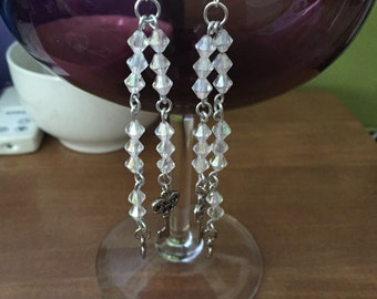 Long dangle earrings with keys and hearts