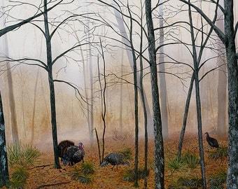 Palmetto Turkeys, an original wildlife art acrylic painting/ turkey painting