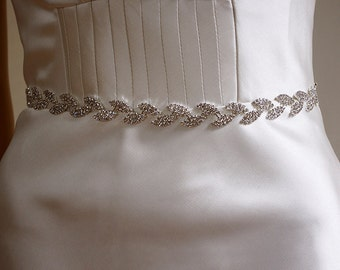 Silver rhinestone leaf Wedding Sash Bridal Belt 2, Champagne, Ivory, White, Floral belt, Rhinestone belt