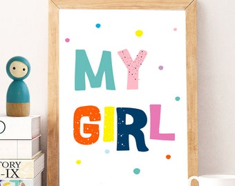 GIRLS Nursery Print Kids Art Nursery Digital Print Children Art Baby Girl Nursery Art Baby Girl Room Decor 8x10 11X14 Instant download print