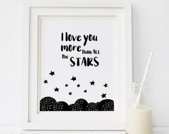 I love you more, Digital print love you more Quote Love Wall Art Quote Typography Wedding Wall Art Anniversary Gift Idea Bedroom Decor stars