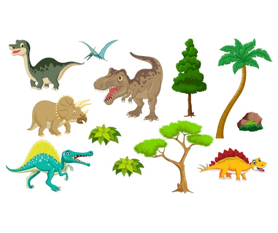 Dinosaur Pack with Trees, Foliage and Rock - MagReceptive