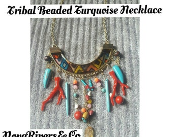 Tribal beaded Turquoise Necklace