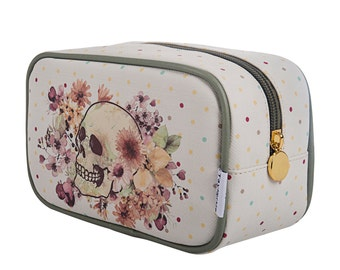 TaylorHe Make-up Bag Cosmetic Case Toiletry Bag Pencil Case Zipped top Floral Skull Green.