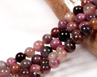 Natural Tourmaline, Natural Stone Beads, Tourmaline Beads, Round Beads, Semi Precious, Gemstone Beads, 4 5 6 8 mm, (CB012)