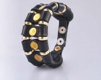 Rocker leather handmade bracelet