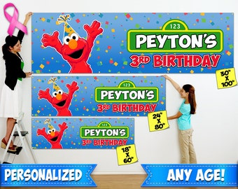 Elmo Birthday Banner - - Personalized Indoor / Outdoor Elmo Birthday Banner Available in 3 Different Sizes