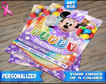 Minnie Mouse Birthday Invitation Purple - Personalized Digital File or Printed on Heavy Stock with Free Envelopes - Minnie Mouse Invitations