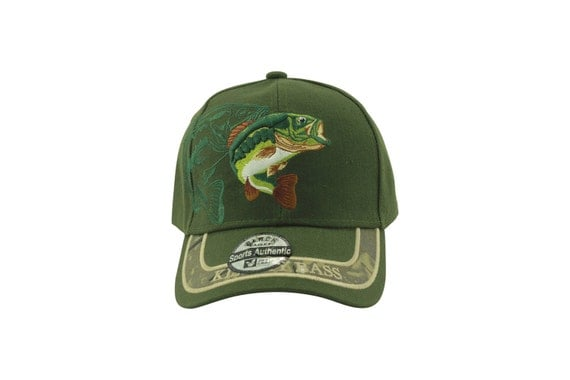 Kiss my bass fishing hat forest green hat embroidery for Bass fishing hats
