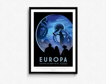 Vintage Space Travel Europa Art Print