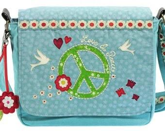 """Canvas shoulder bag """"Peace & love"""""""