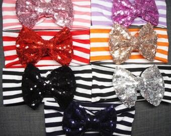 Black Sequin Striped Headband Baby Infant