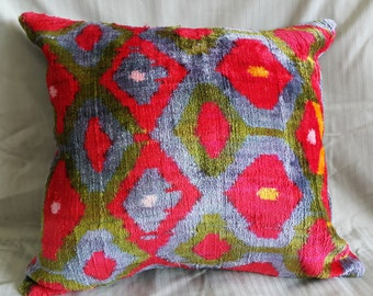"14""×16"" 37×40 cm Hand Woven Anatolian  Pillow Cushion Cover Decorative Pillow Silk İkat Velvet Pillow Home İnterior"