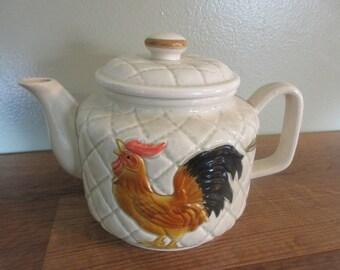Vintage Otagiri Ceramic 4 Cup Tea Pot Chicken Kitchen Decor 1983
