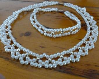 Vintage Faux Seed Pearl Choker Necklace and Bracelet Great for Wedding or Evening Wear