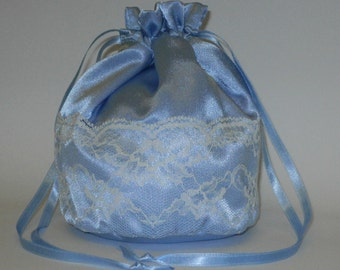 Blue Satin & Ivory Lace Dolly Bag Evening Handbag Or Purse For Wedding Or Bridesmaid