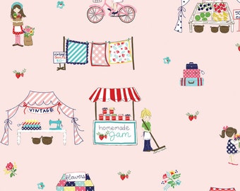 """Riley Blake Designs, MAIN PINK """"Vintage Market"""" by Tasha Noel, per half-yard"""