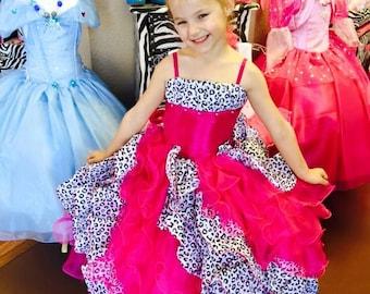 pink leopard party princess dress