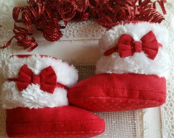 FREE SHIPPING !!!  Size 1-2 Red n White Baby Boot, Reborn Baby Boot, Baby Girl Boot, Baby Gift,