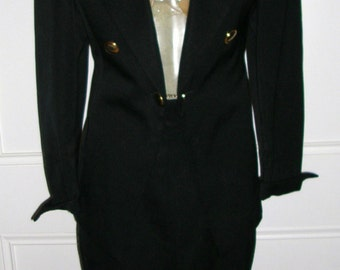 Vintage 1970's black satin lined superfine wool le smoking tuxedo designer skirt suit by Robin Garland (made in Australia) size: 8
