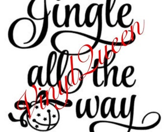 Jingle All The Way Christmas Vinyl Decal Frame Gift Quote Jingle Bells Festive