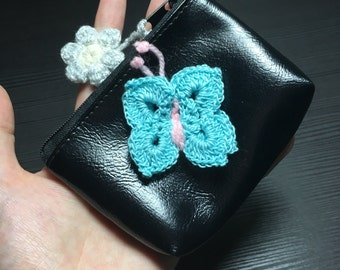 Purse with Crochet Butterfly
