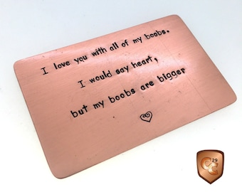 Copper Wallet Insert Card, Boyfriend Gift, 8th Anniversary Gift, Husband Gift, Personalized, boobs, 7th Anniversary