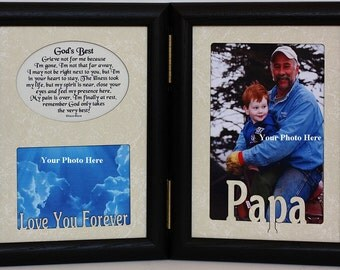 5x7 GOD'S BEST Hinged Portrait Memorial/Bereavement/Funeral/Sympthy/Condolence/Tribute Keepsake Frame with Cream Marble Mats