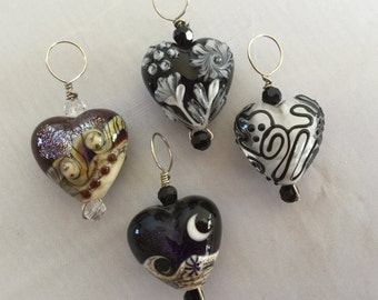 Lampwork heart pendants