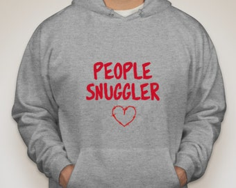 Grey hoody 'People Snuggler' with barbed wire heart