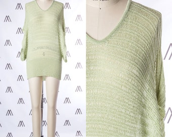 1970s Lime Green Crochet Dolman Sleeve Top with Tie